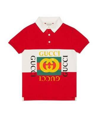 Gucci Striped Collared Logo Shirt, Size 4-12