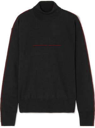 MM6 MAISON MARGIELA Embroidered Wool Turtleneck Sweater - Black