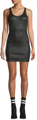 Alexander Wang Fitted Leather Scoop-Neck Mini Dress
