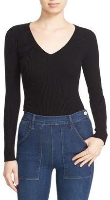 Women's Autumn Cashmere Ribbed Cutout Sleeve V-Neck Top $231 thestylecure.com
