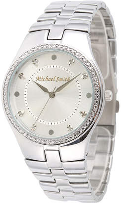 FINE JEWELRY Personalized Dial Mens Diamond-Accent Silver-Tone Watch