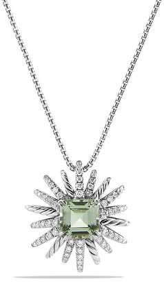David Yurman Starburst Necklace with Diamonds and Prasiolite in Silver