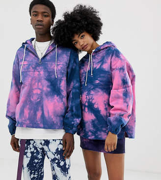 Collusion COLLUSION Unisex denim tie dye pull on jacket