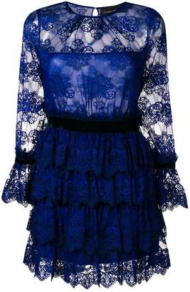 Christian Pellizzari lace ruffled short dress