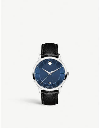 Movado 607020 1881 stainless steel and leather strap watch