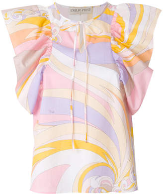Emilio Pucci printed frill-sleeve top