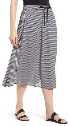 Eileen Fisher Flared Stripe Organic Linen Skirt