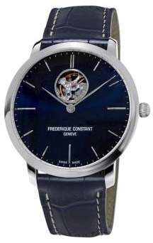 Frederique Constant Slimline Automatic Heart Beat Stainless Steel and Leather Strap Watch