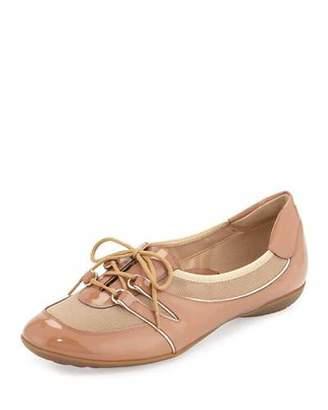 Sesto Meucci Bonnie Stretch Patent Sneaker, Terra Rust $250 thestylecure.com