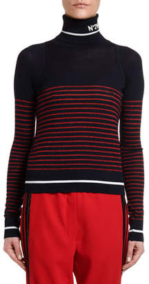 No.21 No. 21 Striped Fitted Turtleneck Sweater