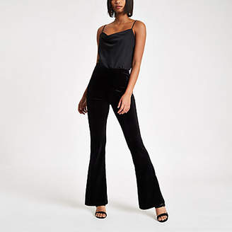 River Island Black velvet flared pants