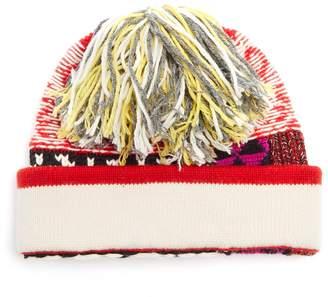 Patchwork wool-blend beanie hat