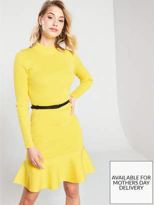 Karen Millen Belted Flippy Knitted Rib Dress - Yellow