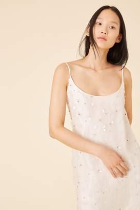 131dc1f4c58f Mansur Gavriel Floral Embellished Silk Slip Dress - Cream