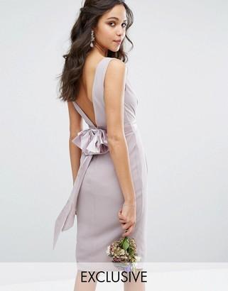 TFNC WEDDING Wrap Midi Dress With Bow Back $72 thestylecure.com