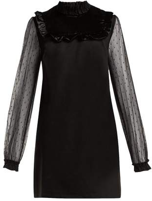 RED Valentino Ruffle Trimmed Stretch Crepe Dress - Womens - Black