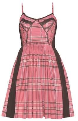 Miu Miu Lace-trimmed check cotton dress