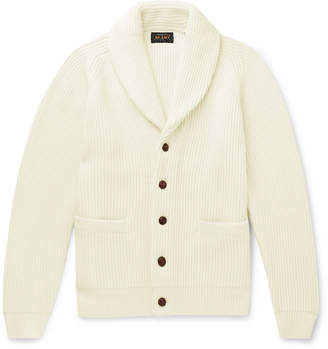 Beams Shawl-Collar Ribbed Wool-Blend Cardigan