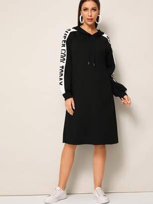 Shein Slogan Print Sleeve Drawstring Hooded Dress