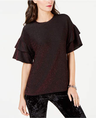 Michael Kors Metallic Ruffle-Sleeve Top, in Regular and Petite Sizes