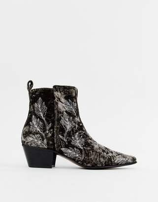 Asos Edition EDITION cuban heel boots in grey velvet with embroidery