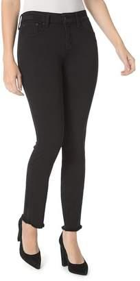 NYDJ Sheri Frayed-Hem Slim Ankle Jeans in Black