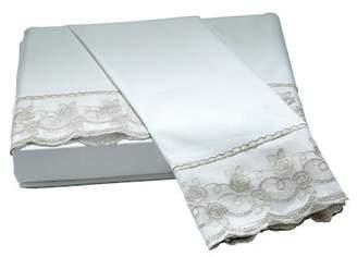 Belle Epoque White/Taupe Capri Lace Floral Queen Sheet Set