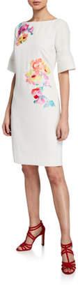 Trina Turk Sojourn Bateau-Neck Short-Sleeve Sheath Dress w/ Embroidery