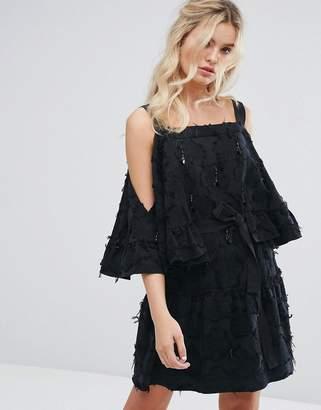 Stevie May Beaded Tassel Textured Mini Dress