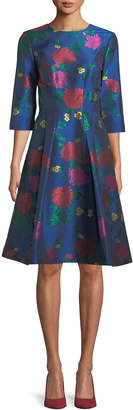 Carolina Herrera 3/4-Sleeve Floral-Jacquard A-Line Cocktail Dress