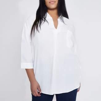 River Island Womens Plus white cross back loose blouse