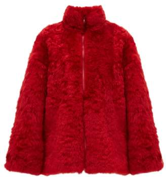 Raey Zip Up Curly Shearling Bomber Jacket - Womens - Red