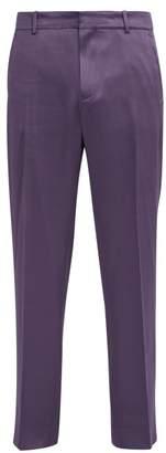 Sies Marjan - Toby Wool Blend Satin Trousers - Mens - Purple