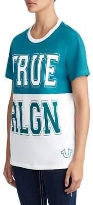 True Religion WOMENS COLOR BLOCK COLLEGE V NECK TEE