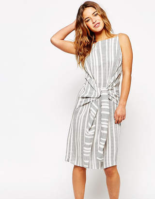 Asos Knot Front Stripe midi dress