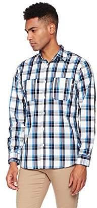Wood Paper Company Men's Long Sleeve Regular Fit Contrast Buttoned 2-Pocket Cotton Plaid Shirt