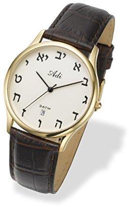 ADI Watchイスラエルユダヤ風アルファベットヘブライ文字,レザー,防水3 ATM。