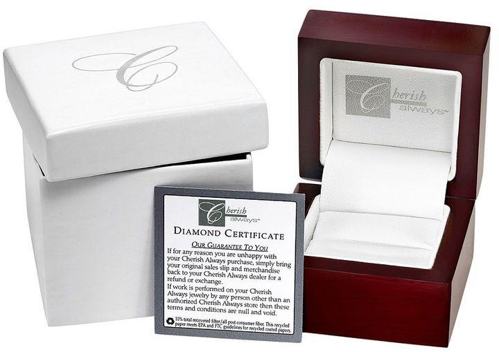 Cherish Always Round-Cut Diamond Crisscross Flower Engagement Ring in 10k White Gold (1/5 ct. T.W.)