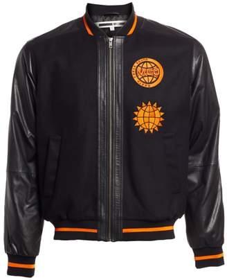 03bcb360a Mens Black Varsity Jacket Leather Sleeves - ShopStyle UK