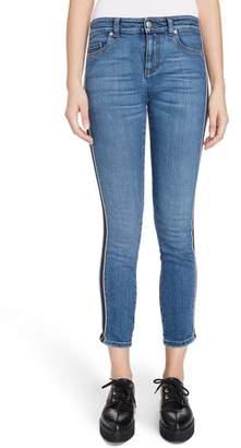 Alexander McQueen Side Stripe Crop Skinny Jeans