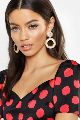 boohoo Textured Statement Circle Earrings