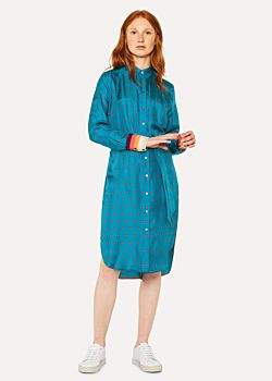 Paul Smith Women's Turquoise 'Daisy Polka' Print Silk Shirt Dress