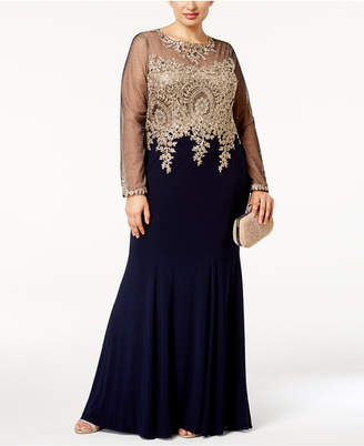Xscape Evenings Plus Size Embroidered Illusion Gown