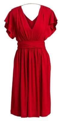 Alberta Ferretti Short Sleeve V-Back Dress