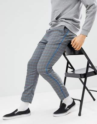 Asos DESIGN Skinny Pants In Gray Check With Elasticated Waist