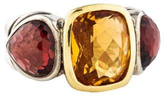 David Yurman Two-Tone Citrine & Rhodolite Mosaic Ring