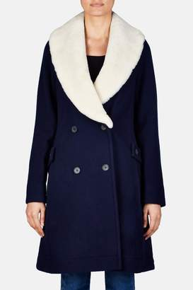 J.W.Anderson Swing Coat With Shearling Collar - Navy