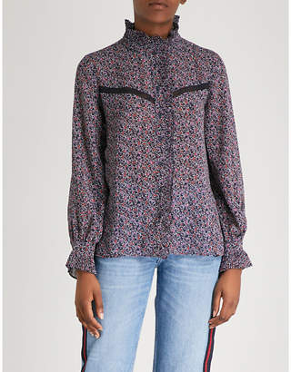 Claudie Pierlot Lace-trim paisley print chiffon top