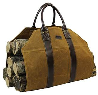 INNO STAGE Log Carrier|Waxed Canvas Log Holder|Firewood Carrier Tote Bag|Fireplace Wood Stove Accessories-Rust