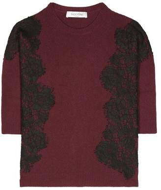 Valentino Lace-embellished wool and cashmere sweater
